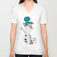 olaf V-neck T-shirts featuring Olaf & Pals by Cheshire Giraffe