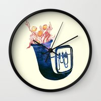 trumpet Wall Clocks featuring Natural Trumpet by Calvin Wu