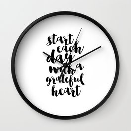Thankful Sign Inspirational Print Printable Art Follow Your Heart Follow Your Dreams Give Thanks Wall Clock