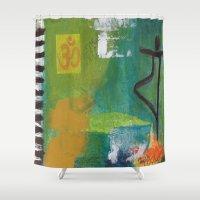 yoga Shower Curtains featuring YOGA by Prema Designs