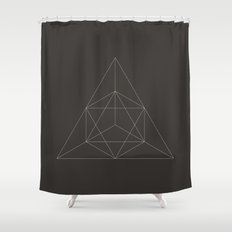 Geometric Dark Shower Curtain