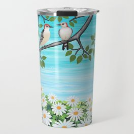 red bellied woodpeckers and daisies Travel Mug