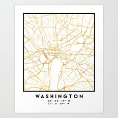 WASHINGTON D.C. DISTRICT OF COLUMBIA CITY STREET MAP ART Art Print