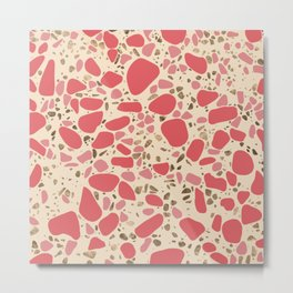 Terrazzo - Mosaic - living coral and gold on pastel Metal Print