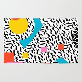 Get Real - memphis abstract pattern retro 80s design minimalist gifts colorful 1980's trend Rug