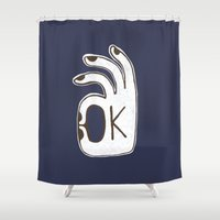 kim sy ok Shower Curtains featuring OK by Alisa Galitsyna