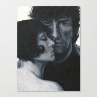 neil gaiman Canvas Prints featuring Portrait of Neil Gaiman and Amanda Palmer by Laura Baran