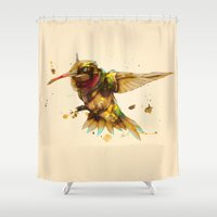 android Shower Curtains featuring android hummingbird by Kingu Omega
