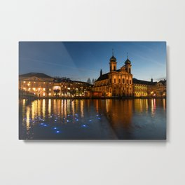 Switzerland Lucerne, Festival of lights, Jesuit Church of St. Francis Xavier sunrise and sunset Evening Street lights Cities Sunrises and sunsets Metal Print