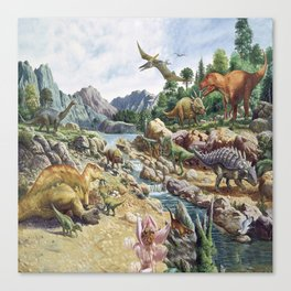 Jurassic dinosaurs in the river Canvas Print