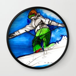 Snowboarder girl Wall Clock