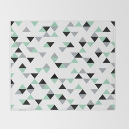 Triangles Mint Grey Throw Blanket