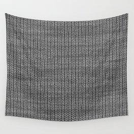 Antiallergenic Hand Knitted Grey Wool Pattern - Mix & Match with Simplicty of life Wall Tapestry