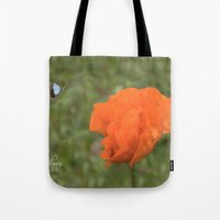 poppy Tote Bags featuring Poppy by Fine Art by Rina