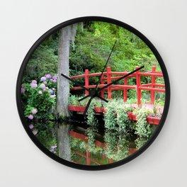 Red Bridge over the Magnolia Swamp Wall Clock
