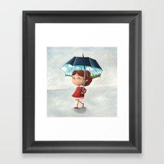 Happy umbrella Framed Art Print