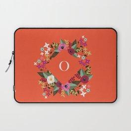 Floral Pink Monogram O Laptop Sleeve