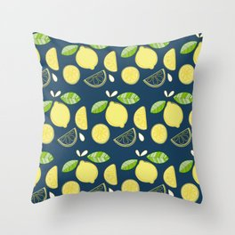 Squeeze Me | Navy Blue Throw Pillow