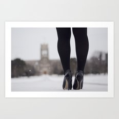 Heels and snow Art Print