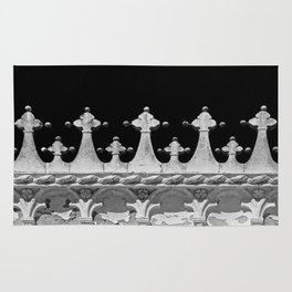 Abstract Venetian Architectural Details in Black and White Rug