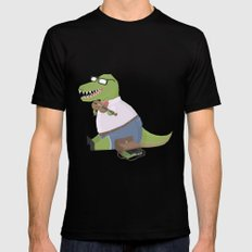 Hipster Dinosaur Jammin' on his Fiddle Black MEDIUM Mens Fitted Tee