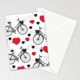 seamless pattern black bike and red heart on white background. Vector illustration Stationery Cards
