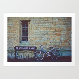 Bike, Wall and Window- Oxford, England Art Print