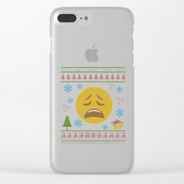 Weary Crying Emoticon Christmas Ugly Shirt Icon Smiley Clear iPhone Case