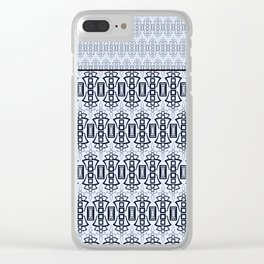 Art Deco .  Gray blue with black combo pattern . Clear iPhone Case