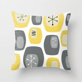 Mid Century Modern Oblongs Yellow Gray Throw Pillow