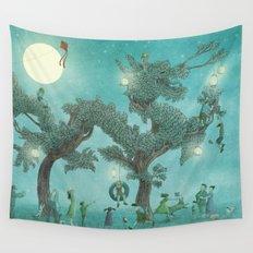 The Night Gardener - Dragon Tree night option  Wall Tapestry
