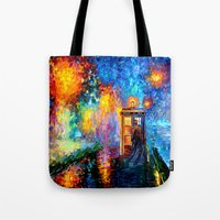 fandom Tote Bags featuring The 10th Doctor who Starry the night Art painting iPhone 4 4s 5 5c 6, pillow case, mugs and tshirt by Three Second