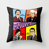 will ferrell Throw Pillows featuring The Newsteam - Anchorman by Buby87