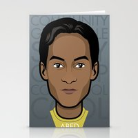 community Stationery Cards featuring Abed - Community by Mathieu Marcou