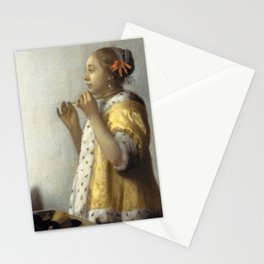 "Johannes Vermeer ""Woman with a Pearl Necklace"" Stationery Cards"