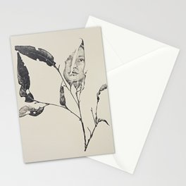 face on leaf Stationery Cards