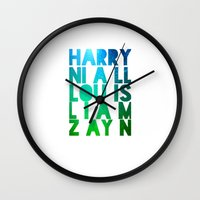 one direction Wall Clocks featuring One Direction by Monika Strigel