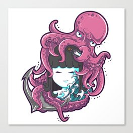 Little girl and octopus Canvas Print