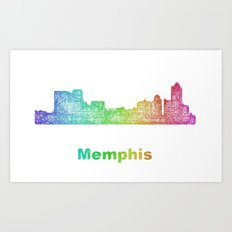 Rainbow Memphis skyline Art Print
