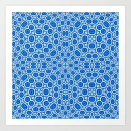 Country Blue and White Bubble Pattern Art Print