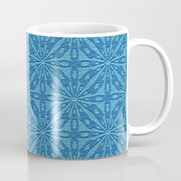 Blue Faux Leather Texture Geometric Pattern Coffee Mug