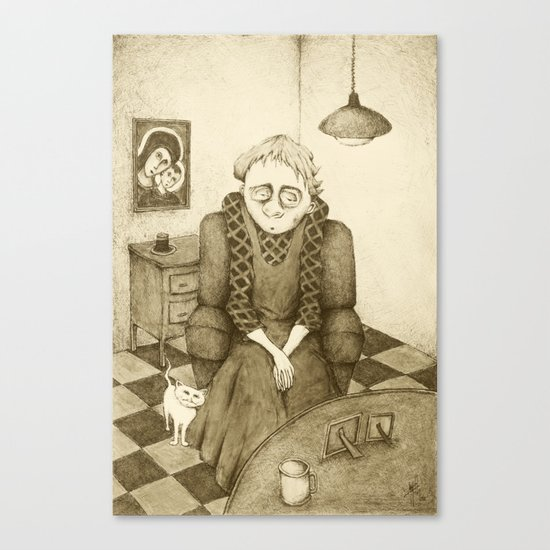 Old Woman and Cat (Retro Sepia Version)  Canvas Print