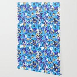 Teal purple blue brown watercolor floral Wallpaper