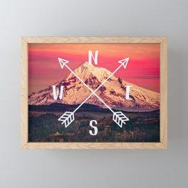 Snowy Mountain Compass Framed Mini Art Print