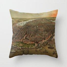 Bird's-eye view of New York c. 1873 Throw Pillow