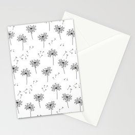 Dandelions in Black Stationery Cards