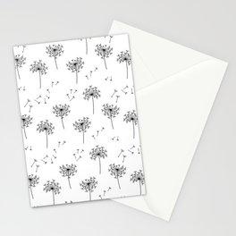 Dandelions in Black Stationery Cards