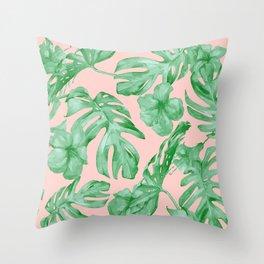 Island Life Coral Pink + Green Throw Pillow