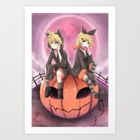 vocaloid Art Prints featuring vocaloid black cats by Sunny