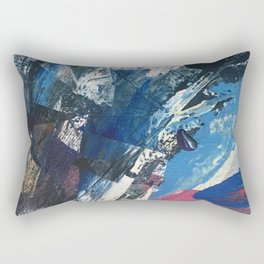 Flourish [3]: a vibrant abstract mixed-media piece in blues, magenta, and gold Rectangular Pillow